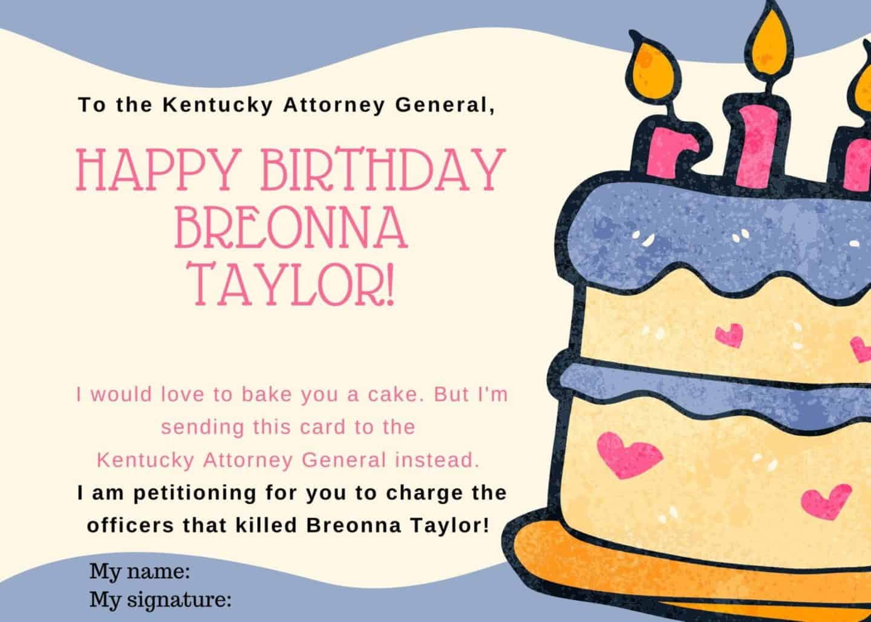 Breonna Taylor Birthday Card Petition - FREE Printable