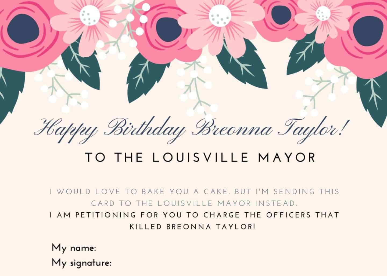 Breonna Taylor Birthday Card Petition - FREE Printables