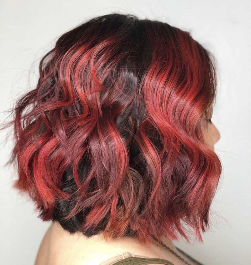Cartoon Red Vivid Bob Haircut & Hair Color by Destiny Moody - MUAH Destiny