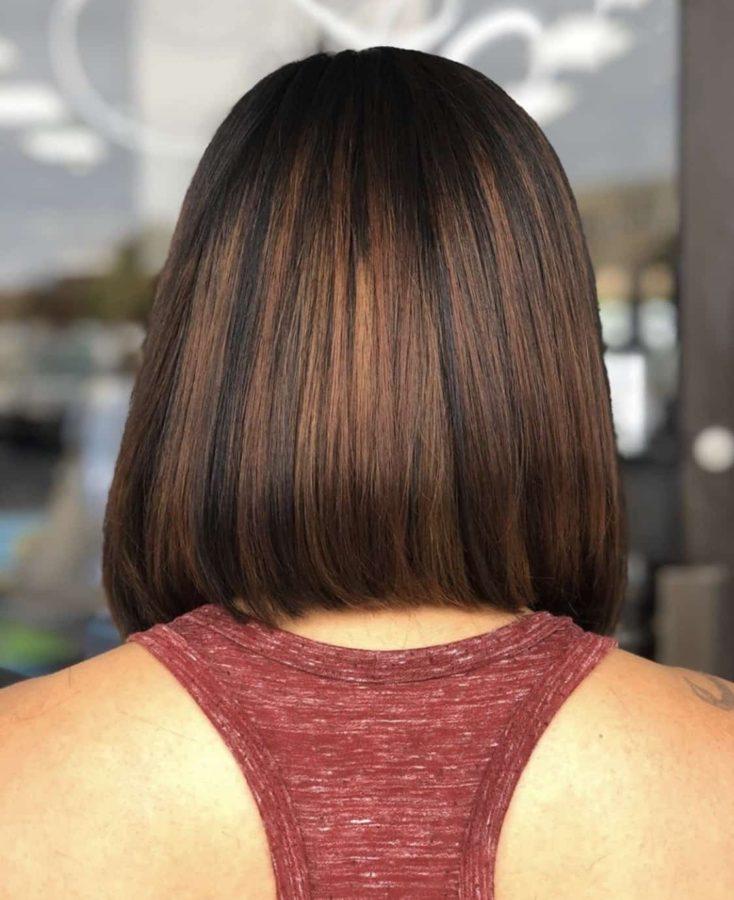 Medium Length Bob Haircut For Brunettes by Destiny Moody - MUAH Destiny