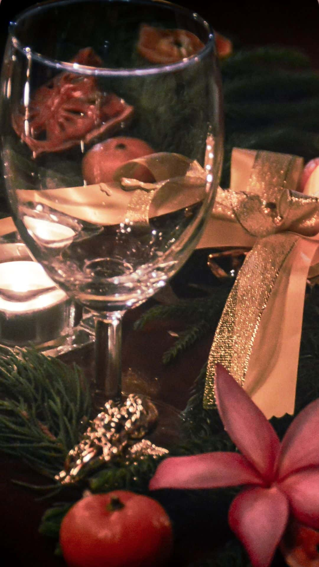 Christmas Wallpapers For iPhone Wine Glass By The Christmas Tree