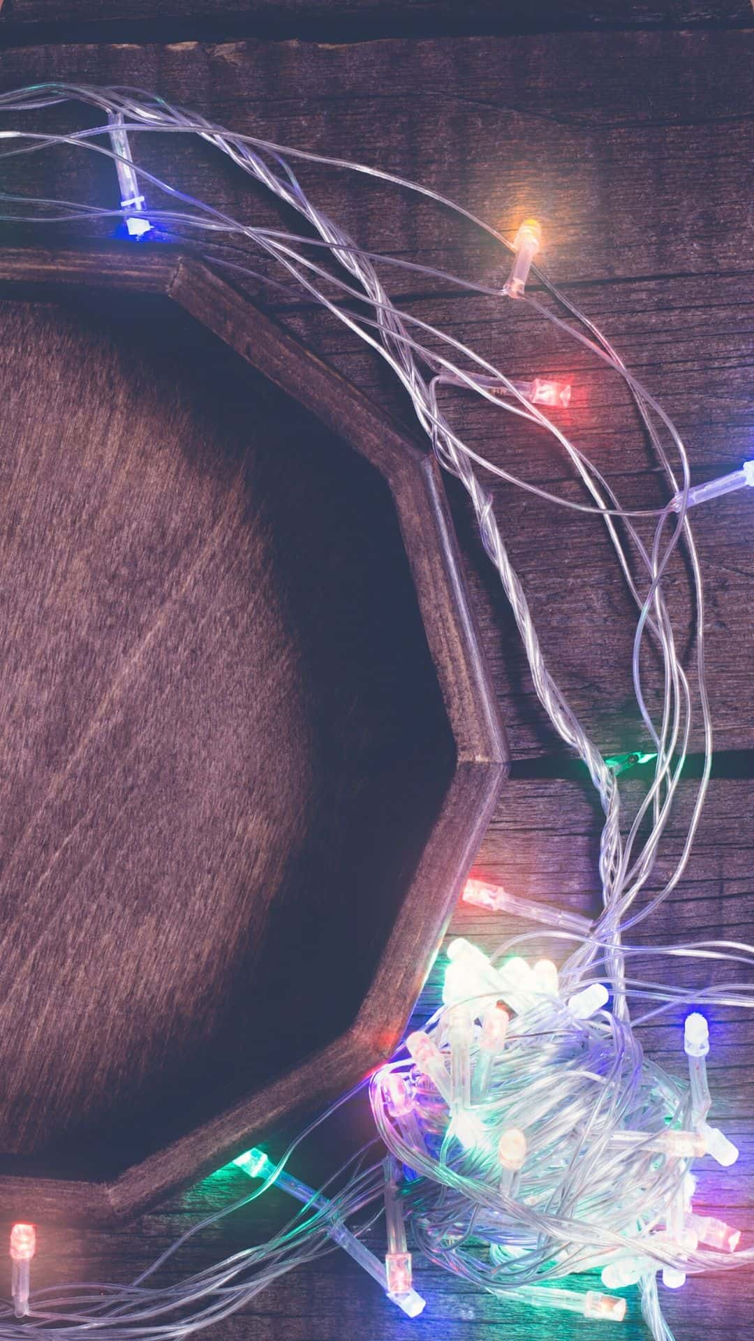 Christmas Wallpapers For iPhone Wooden Tray & Christmas Lights