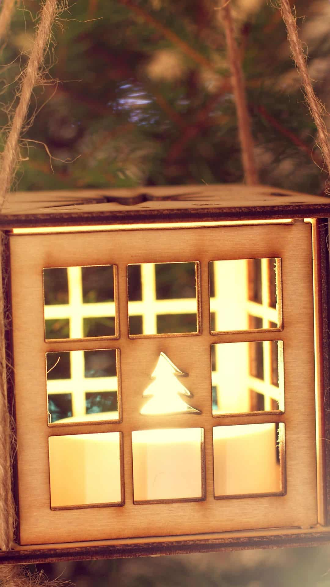 Cozy Christmas Backgrounds For iPhone Wallpaper Wooden Lantern