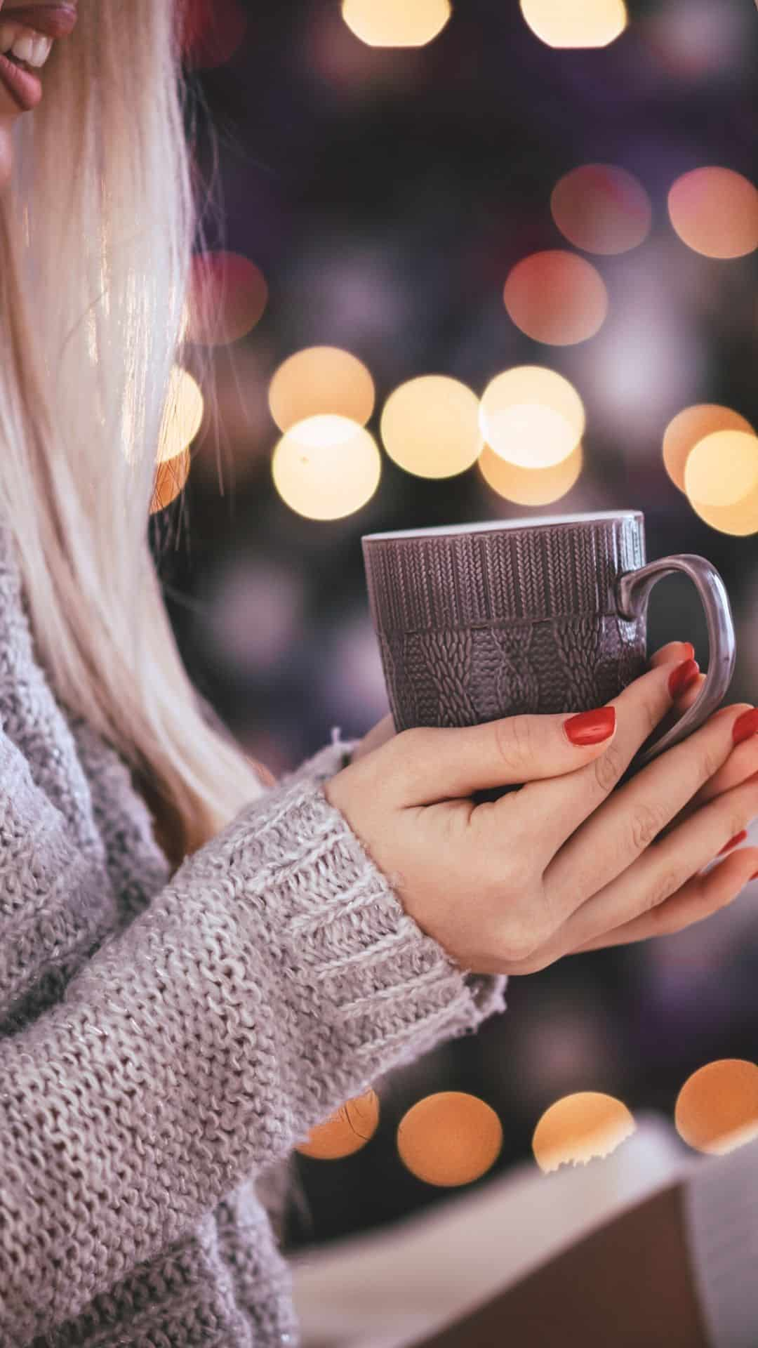 Cozy Christmas Backgrounds For iPhone Wallpaper Cozy Sweater & Mug
