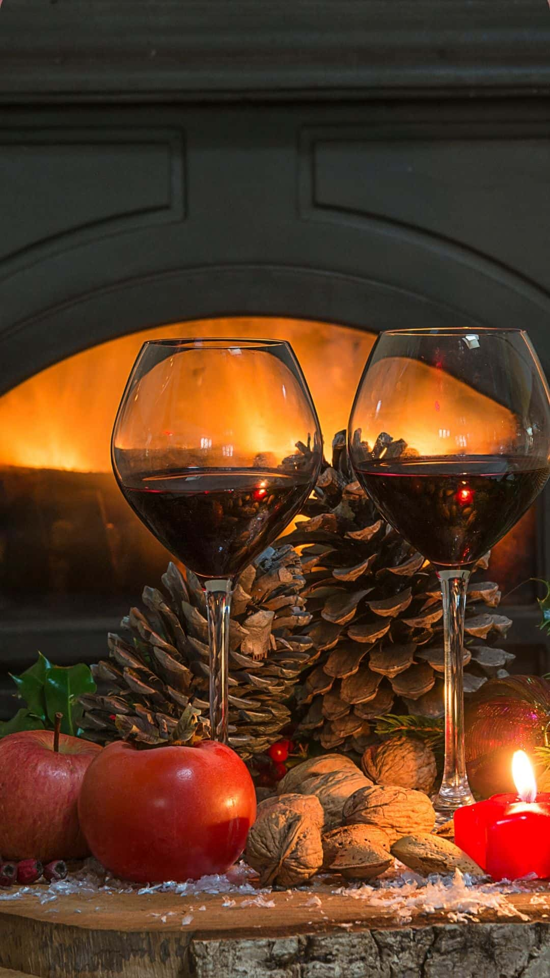 Cozy Christmas Backgrounds For iPhone Wallpaper Merlot By The Fire