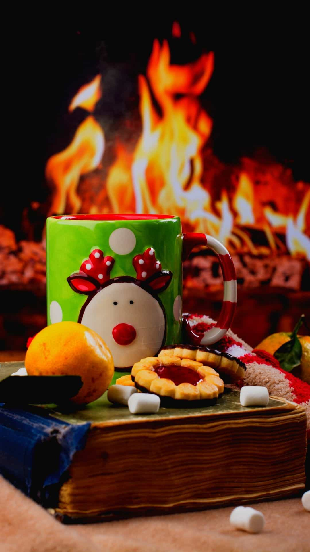 Christmas Wallpapers For iPhone Cozy Fire & Mug