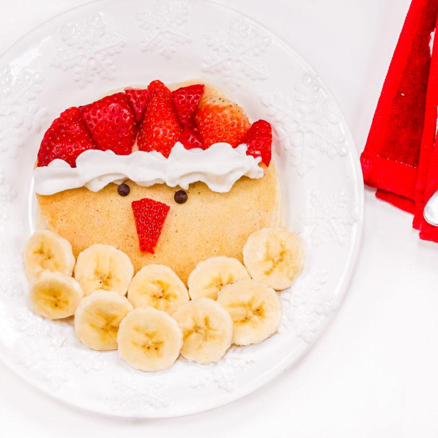 DIY Strawberry Banana Santa Christmas Pancakes