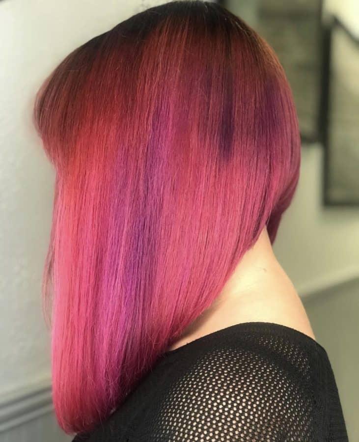 Hot Pink Long Bob Haircut by Destiny Moody - MUAH Destiny