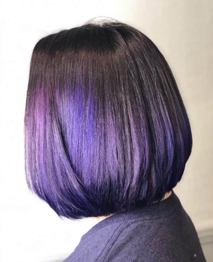 Purple Vivid Color & Medium Length Bob Haircut by Destiny Moody - MUAH Destiny