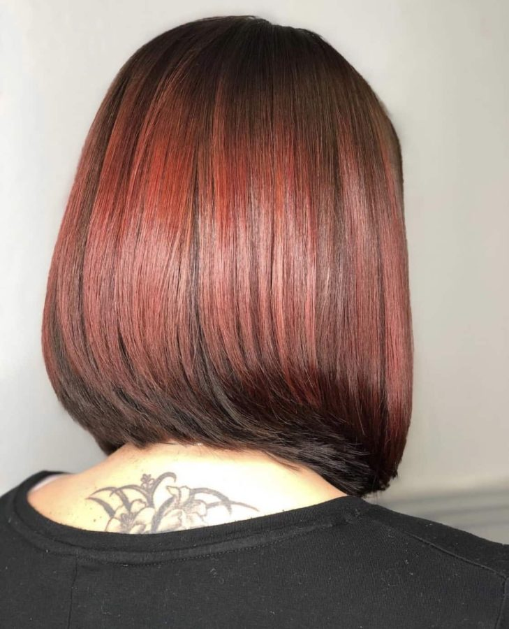 Red Medium Length Bob Haircut by Destiny Moody - MUAH Destiny
