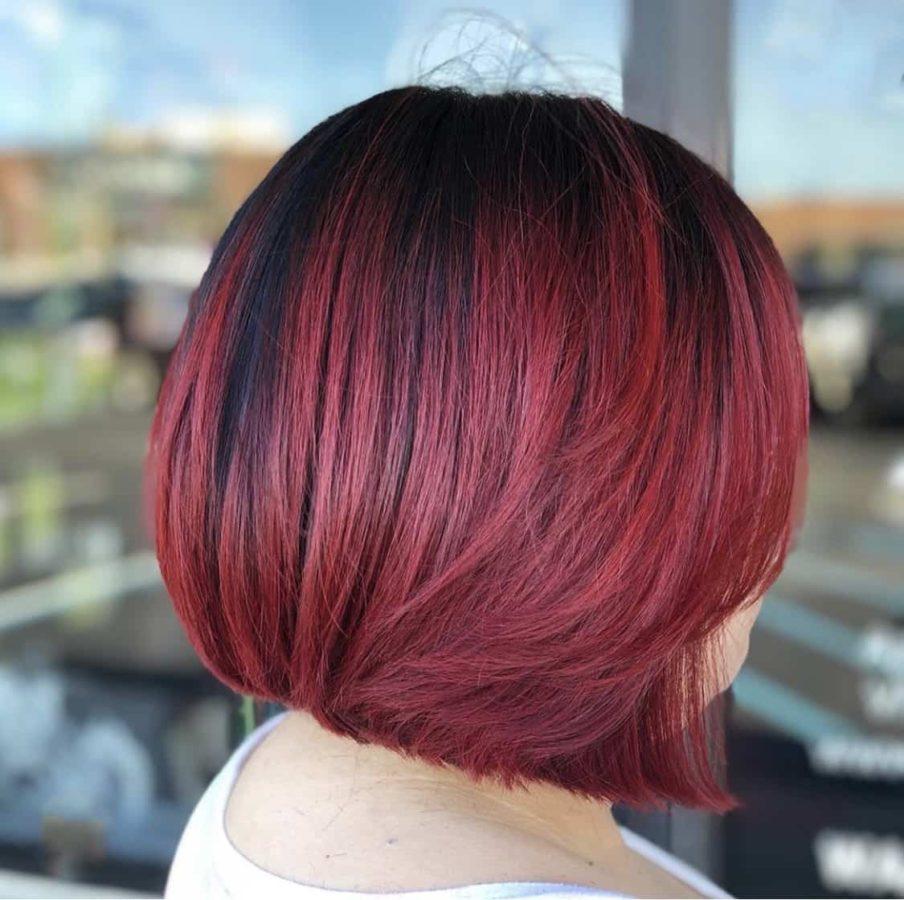Cherry Cola Color Bob Haircut by Destiny Moody - MUAH Destiny