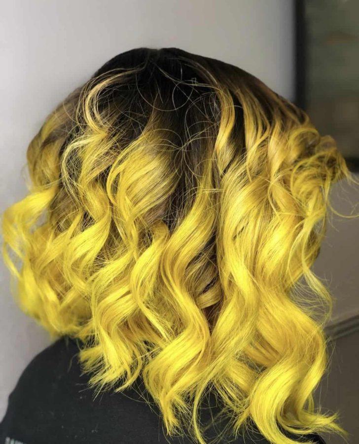 Long Vivid Yellow Color Asymmetrical Bob Haircut by Destiny Moody - MUAH Destiny
