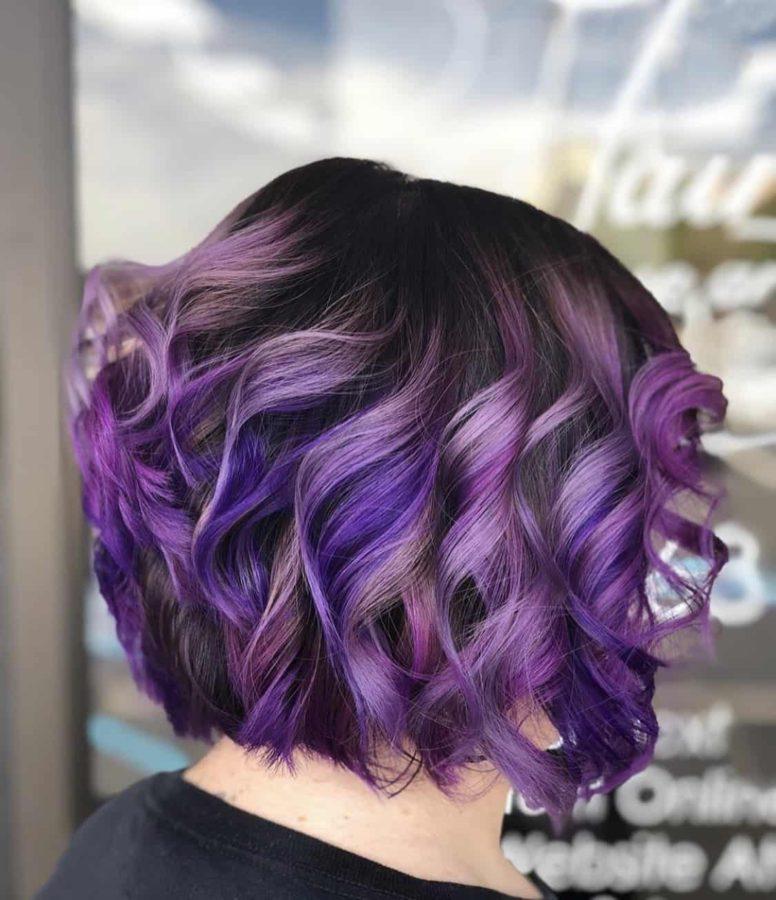 Vivid Purple Color Bob Haircut by Destiny Moody - MUAH Destiny