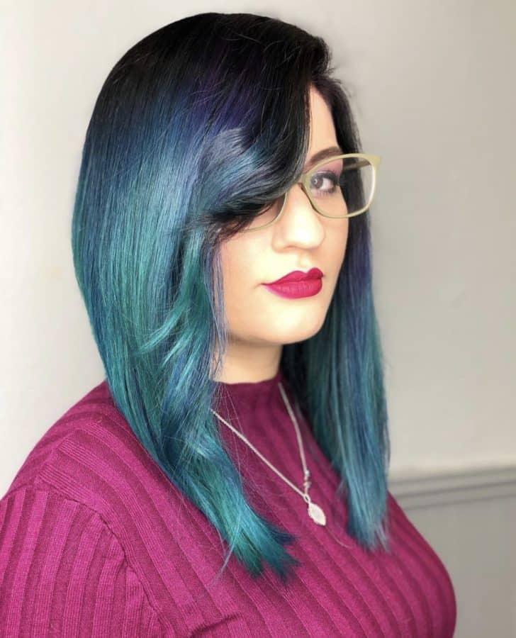 Turquoise Bob Haircut by Destiny Moody - MUAH Destiny