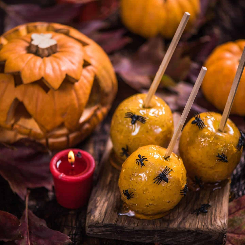Halloween Orange Candy Apples