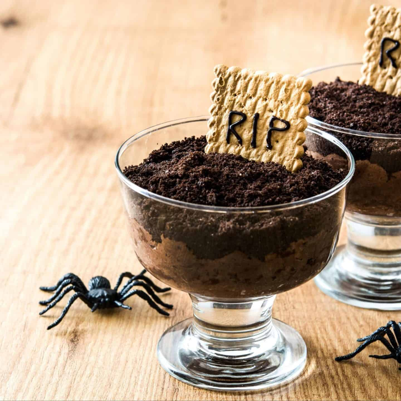 Halloween party chocolate graveyard dirt