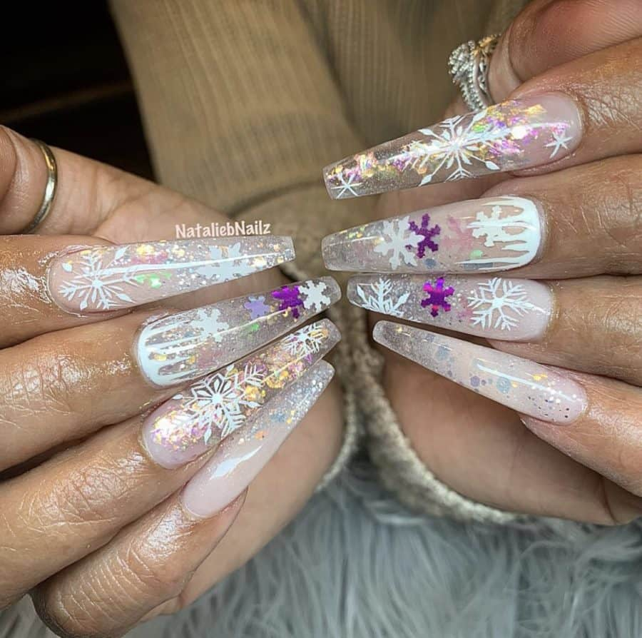 Acrylic Coffin Snowflake Nails