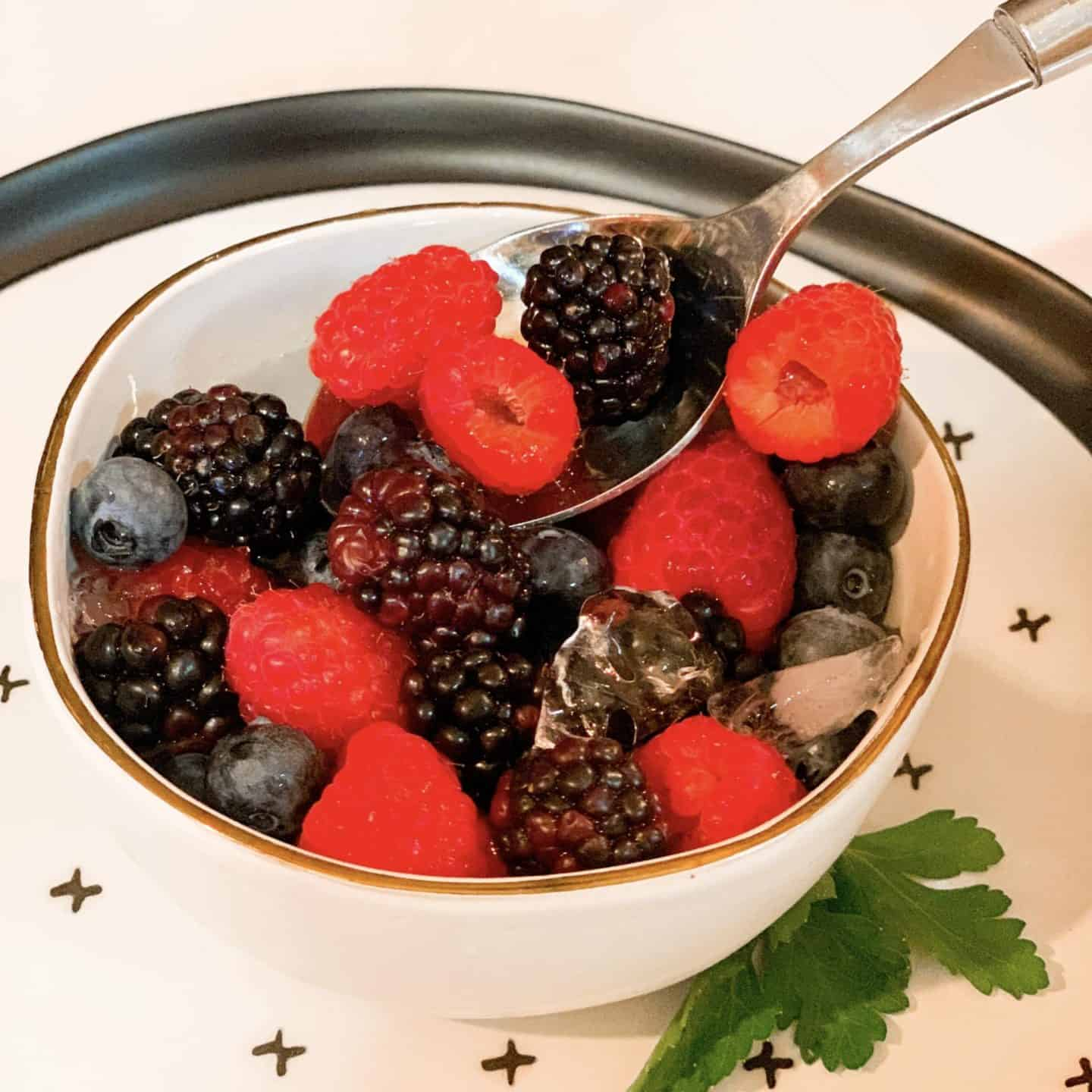 TikTok Nature's Cereal Vegan Recipe Mixed Berries In A Bowl Of Coconut Water With Ice