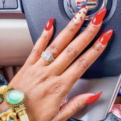 Cherry Rhinestone Nails